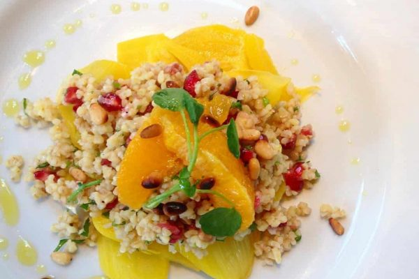 Poached fennel with Bulgar wheat & pomegranate salad