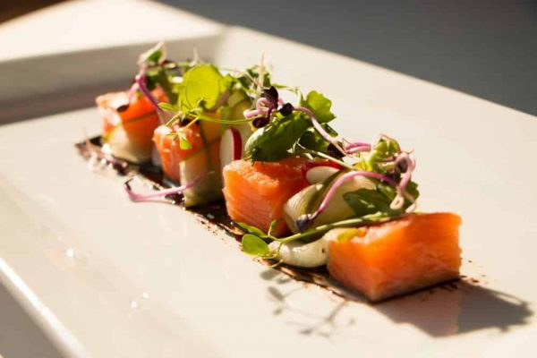 Vodka Cured Salmon with Pickled Cucumber