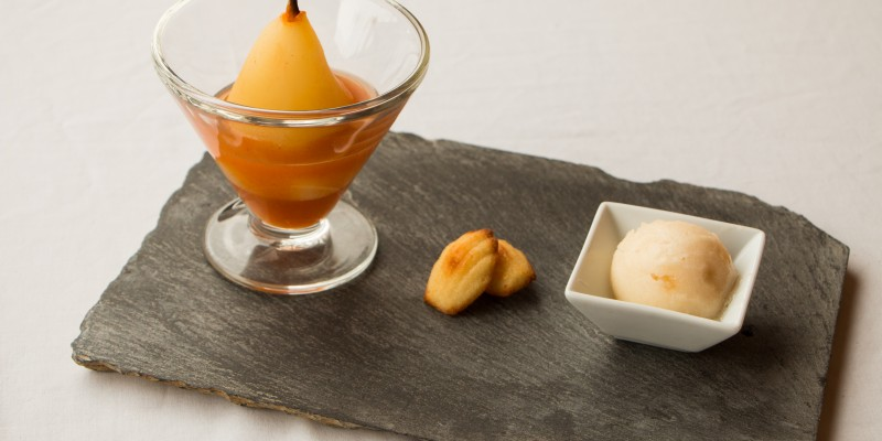 Saffron, Honey & Ginger Poached Pear with Mini Madeleines