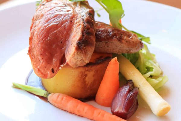 Griddled Leg of Lamb with a Red Wine Jus, Baby Leek & Baby Carrot