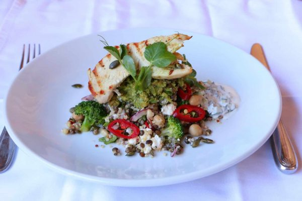 Pan fried chicken with lentil & quinoa salad & smashed avocado